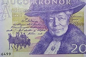 Selma Lagerlof, Swedish writer, crone, kroner banknote