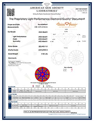 Why does Brian Gavin user AGS Laboratory instead of GIA to grade diamonds like AGSL 104074500009