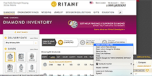Search for ideal cut diamonds on Ritani, diamond reviews
