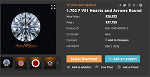 Brian Gavin Signature Hearts and Arrows diamond reviews, AGSL 104074992015