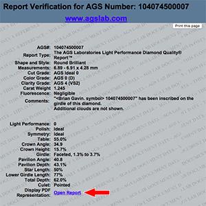 How to verify AGS diamond grading report, AGSL 104074500007, Brian Gavin Reviews