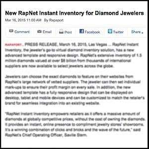 Martin Rapaport, founder of RapNet, announces instant inventory service for diamond jewelers