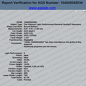 Verify AGS Diamond Grading Report feature, AGSL 104045045034, James Allen True Hearts diamond reviews