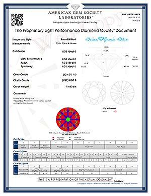 Brian Gavin Blue Signature diamond reviews, AGSL 04078104004, strong blue fluorescence F-color diamond