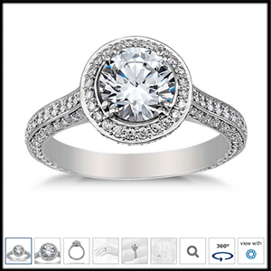 Heirloom halo micropave diamond engagement ring Blue Nile reviews