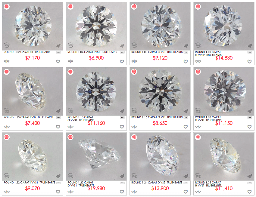 James Allen True Hearts diamond reviews, how to pick the best one carat diamond