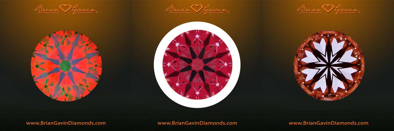 Brian Gavin Signature diamond reviews, AGS 104068744001, ASET, Ideal Scope, and Hearts & Arrows Scope composite