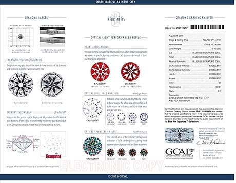 Blue Nile Signature round diamond reviews, LD06062346, GIA 7191995426, GCAL 252110267