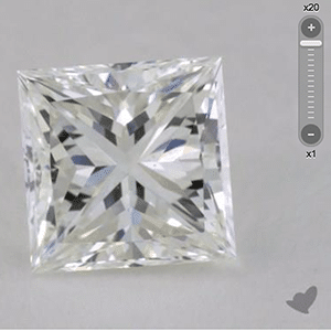 Clarity effect of chevron facets on princess cut diamonds, James Allen, SKU 581158, GIA 1203341314