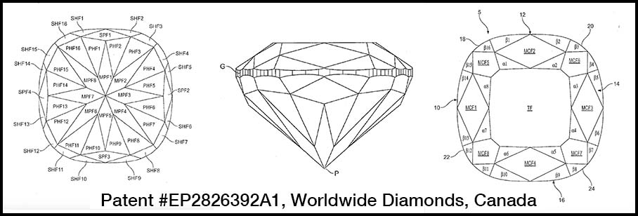 Facet design for hearts and arrows cushion cut diamond, Worldwide Diamond, Canada, Patent number EP2826392A1