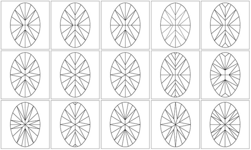 Oval-cut diamond pavilion facet diagrams