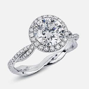 Braided shank halo solitaire engagement ring by Victor Canera