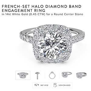 New Year Engagement, French set halo engagement ring from Ritani