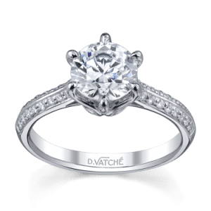Swan pave solitaire engagement ring by D. Vatche, from High Performance Diamonds