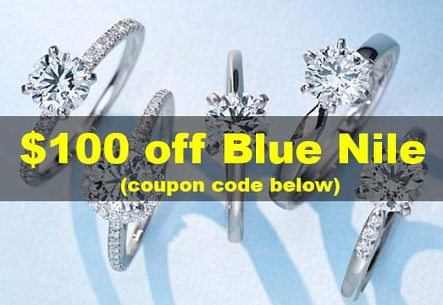 Blue Nile coupon discount codes, 100 hundred dollars off via Nice Ice