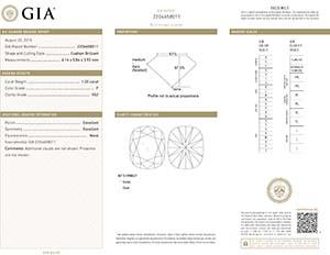 Lab report for Brian Gavin select cushion cut diamond, GIA 2204658011