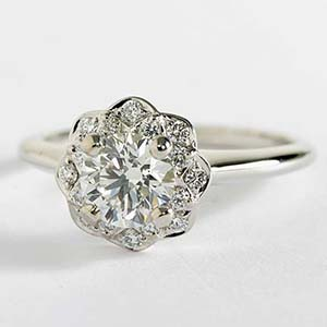 Floral halo engagement ring from Blue Nile
