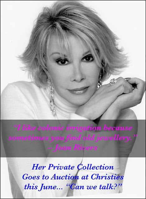 Joan Rivers private jewelry diamond collection Christies Auction, June 2016
