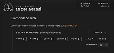 Search Leon Mege round brilliant cut diamonds