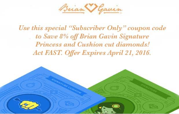Brian Gavin coupon code, BGD Signature princess and cushion cut diamonds, April 2016