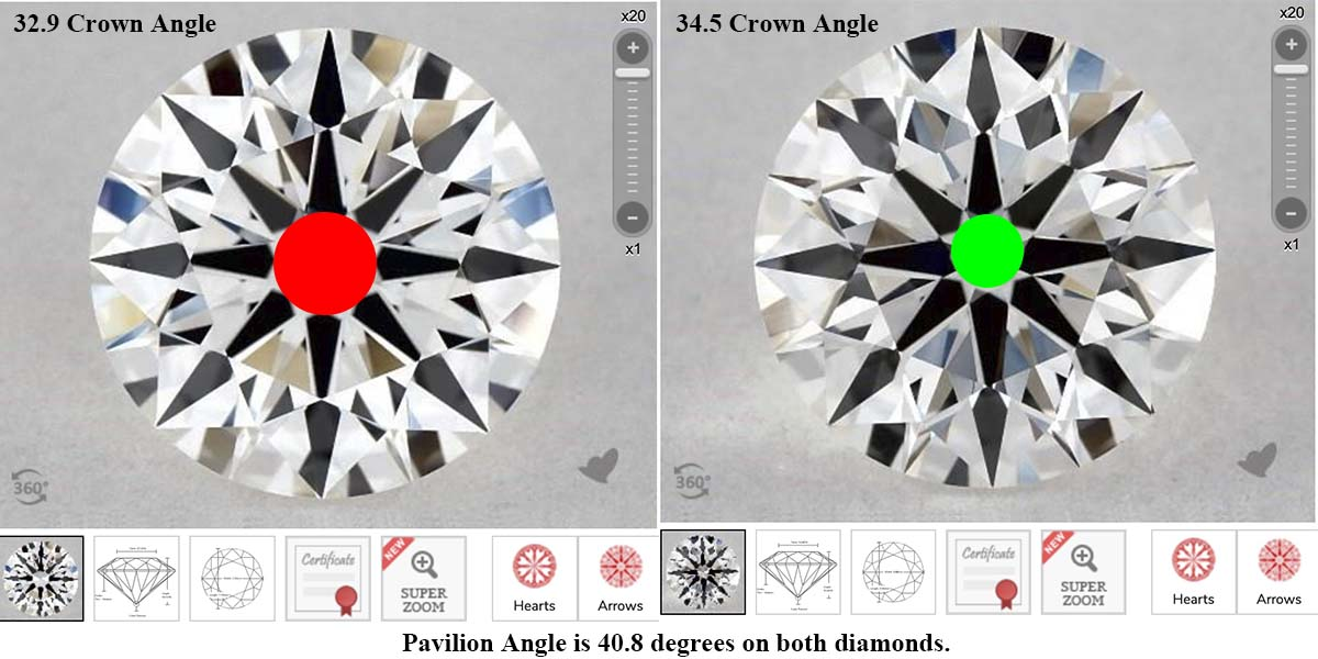 James Allen True Hearts diamonds comparison, SKU 5421237 vs 6089544, 33 degree vs 34.5 degree crown angle