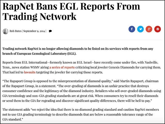 AGS vs GIA vs EGL graded diamond color grading. RapNet bans European Gemological Laboratory