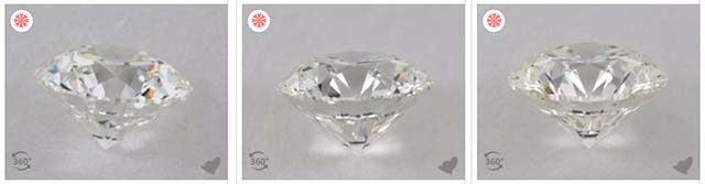 G-H-I diamond color comparison, James Allen True Hearts diamonds, SKU 1783900, 1025864, 1006245