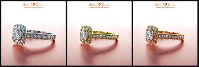 How does alloy type affect diamond color? White gold, yellow gold, rose gold, platinum, BGD Signature halo