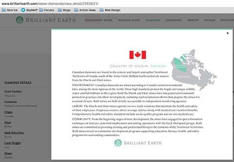 Brilliant Earth diamond reviews, SKU 2263521, GIA 2228172105 origin certificate