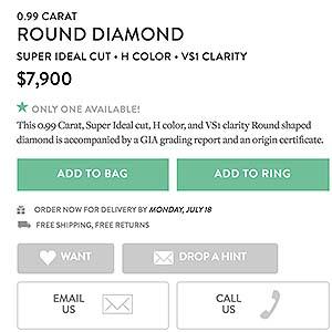 Brilliant Earth diamond reviews, SKU 1935720A, GIA 7226683802-price