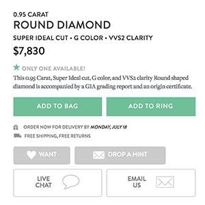 Brilliant Earth diamond reviews, SKU 2263521, GIA 228172105 description