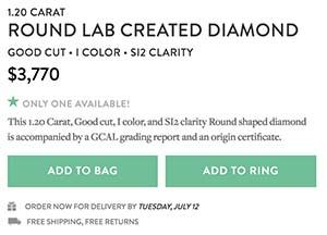 Brilliant Earth lab grown diamond reviews, SKU 2266256, GCAL 261320020