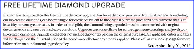 Brilliant Earth upgrade policy excludes lab grown diamonds, July 01, 2016