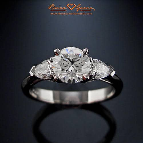 Summer pear shape 3 stone diamond ring by Brian Gavin