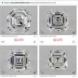 Asscher cut diamond buying guide, search James Allen