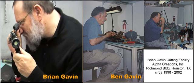 Brian Gavin, 5th generation diamond cutter, also Ben Gavin, Alpha Creations Factory, Richmond Building, Houston TX, circa 1998 - 2002