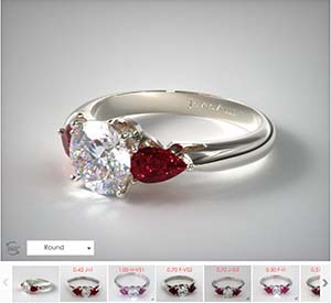 Popular engagement rings, ruby and diamond 3 stone ring from James Allen
