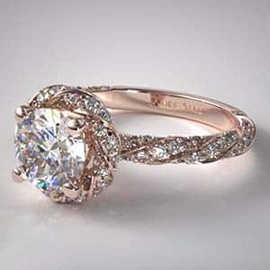 Rose gold twisted pave halo popular engagement rings James Allen