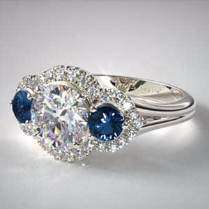 Split shank sapphire and diamond halo style popular engagement rings from James Allen