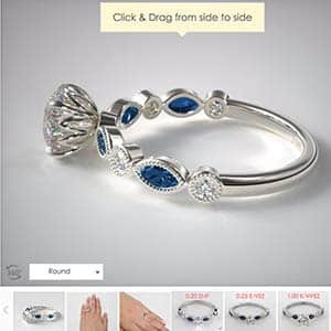 Vintage style popular engagement rings, sapphire and diamond James Allen
