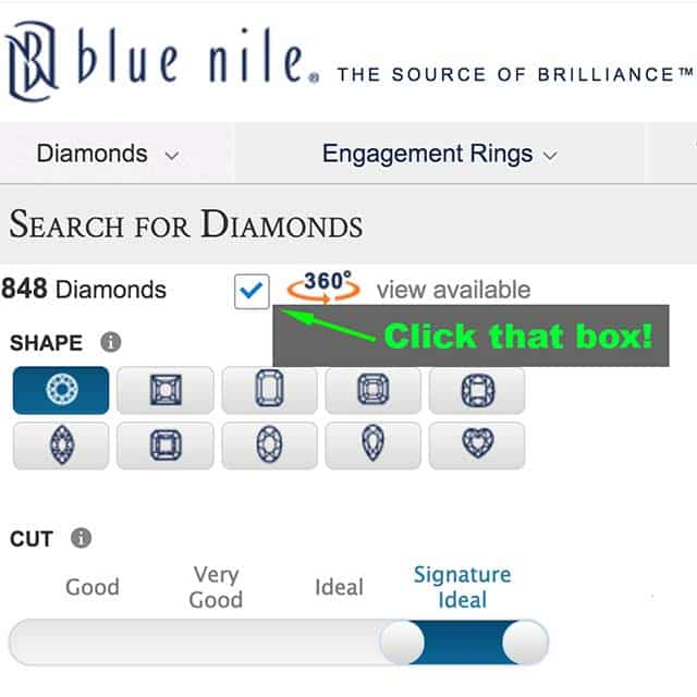360 degrees sizzling sparkle Blue Nile Canada