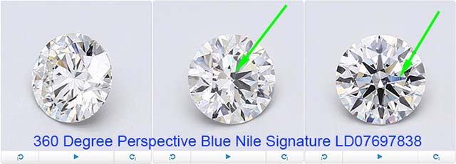 Blue Nile Signature diamond reviews via Nice Ice, LD07697838, GIA 6232136793, 360 diamond view
