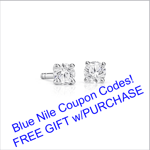 Blue Nile coupon codes, free gift with purchase, style 62302 one fifth carat t.w. diamond earrings