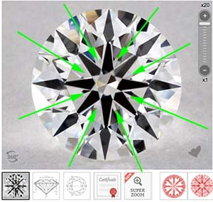 Clustering AKA interference figures, James Allen True Hearts diamond, SKU 3208451-104094486010