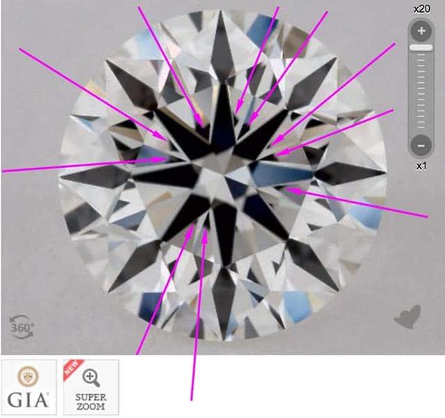 James Allen diamond reviews via Nice Ice, SKU 2223391, GIA 1172927265 moderate to heavy obstruction