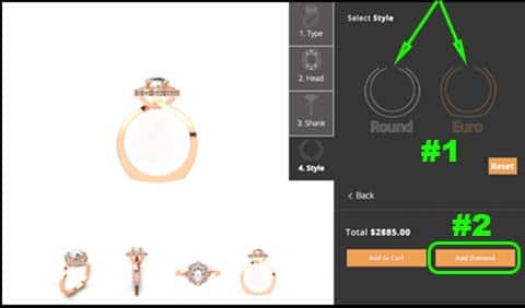 Custom design your engagement ring online builder, step 4, 810 Collection
