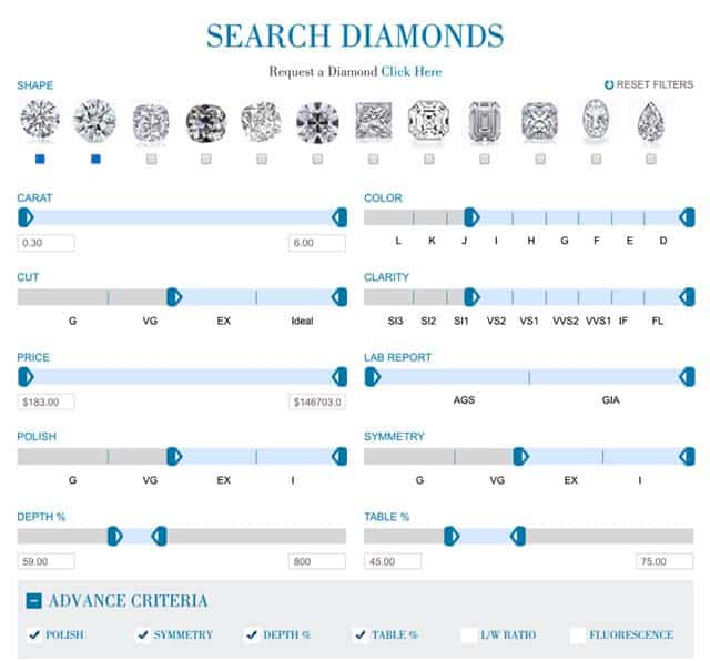 Optimize search criteria Brilliantly Engaged diamonds