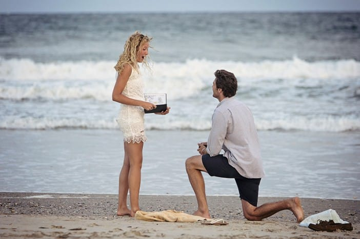 James Allen engagement rings, Tyler and Colbey beach proposal day
