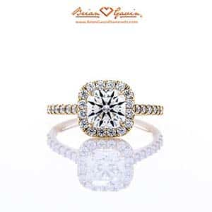 Anita halo setting by Brian Gavin, 18k yellow gold, style 5950W18-2