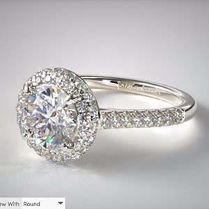 James Allen falling edge pave setting in 18k white gold